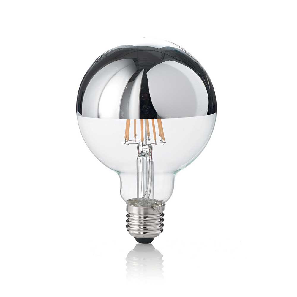 LAMPADINA CLASSIC E27 8W GLOBO D95 CHROME 3000K